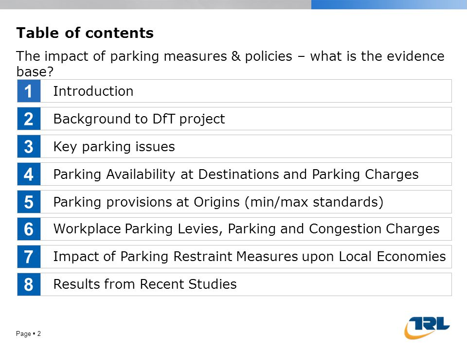 Page  2 Table of contents The impact of parking measures & policies – what is the evidence base? Introduction Background to DfT project Key parking i