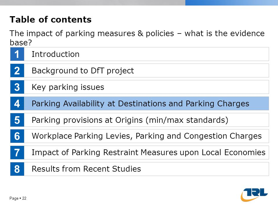 Page  22 Table of contents The impact of parking measures & policies – what is the evidence base? Introduction Background to DfT project Key parking