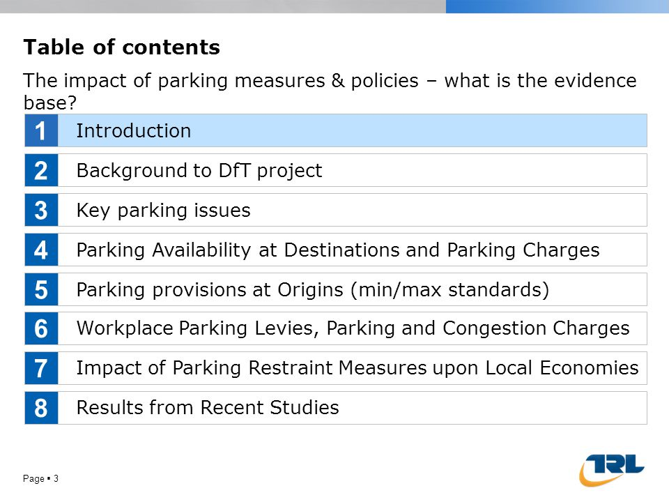 Page  3 Table of contents The impact of parking measures & policies – what is the evidence base? Introduction Background to DfT project Key parking i