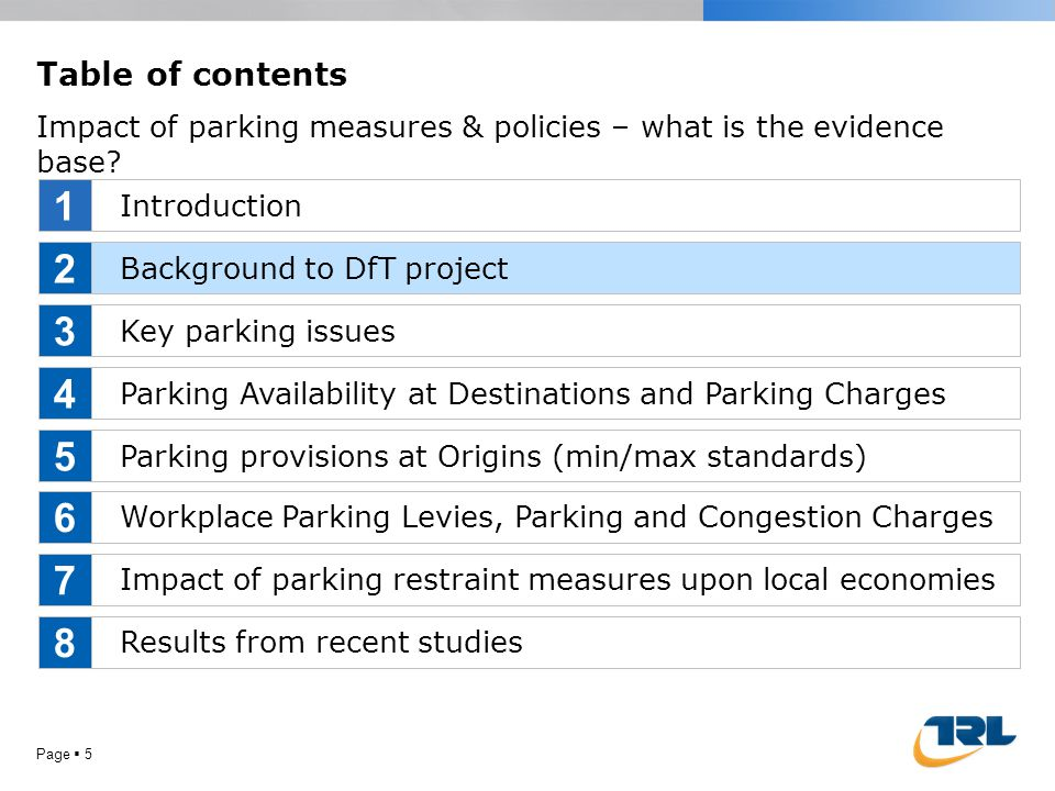 Page  5 Table of contents Impact of parking measures & policies – what is the evidence base? Introduction Background to DfT project Key parking issue