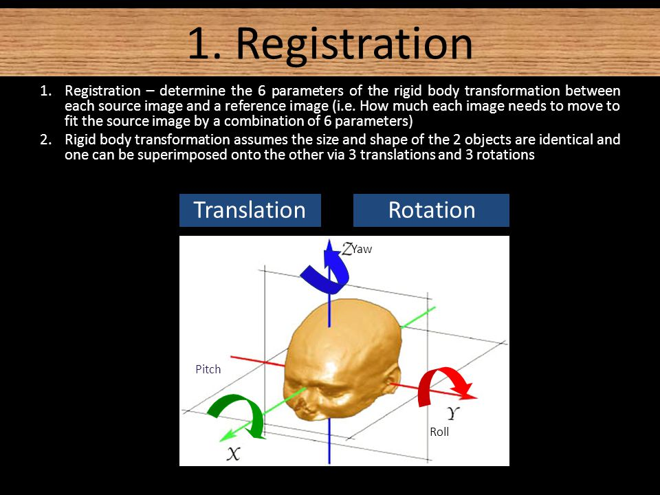1.Registration – determine the 6 parameters of the rigid body transformation between each source image and a reference image (i.e.