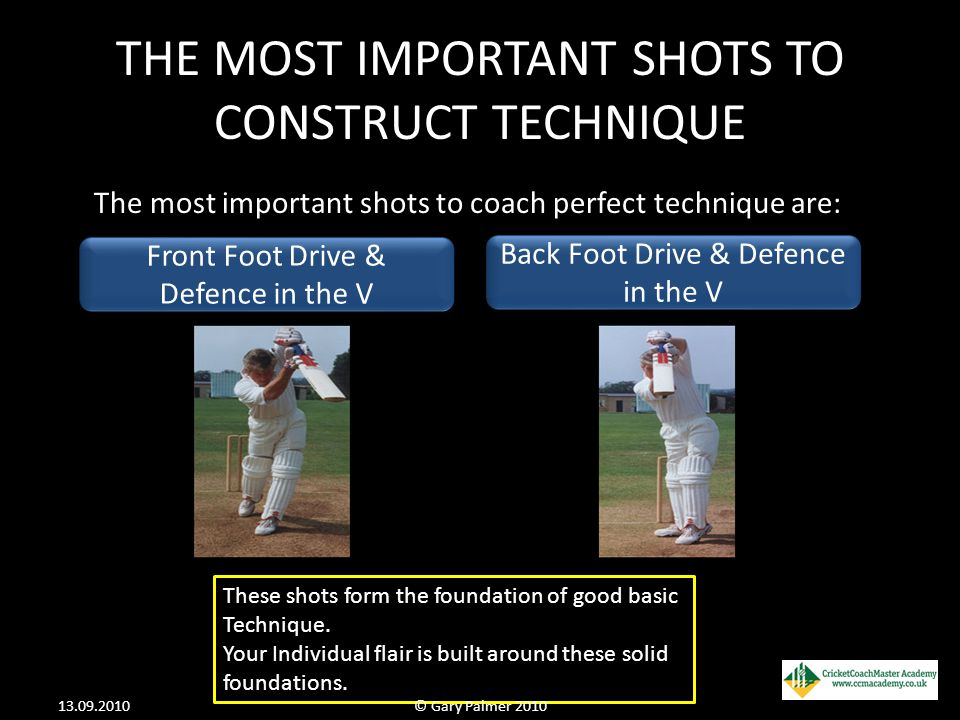 THE MOST IMPORTANT SHOTS TO CONSTRUCT TECHNIQUE The most important shots to coach perfect technique are: These shots form the foundation of good basic