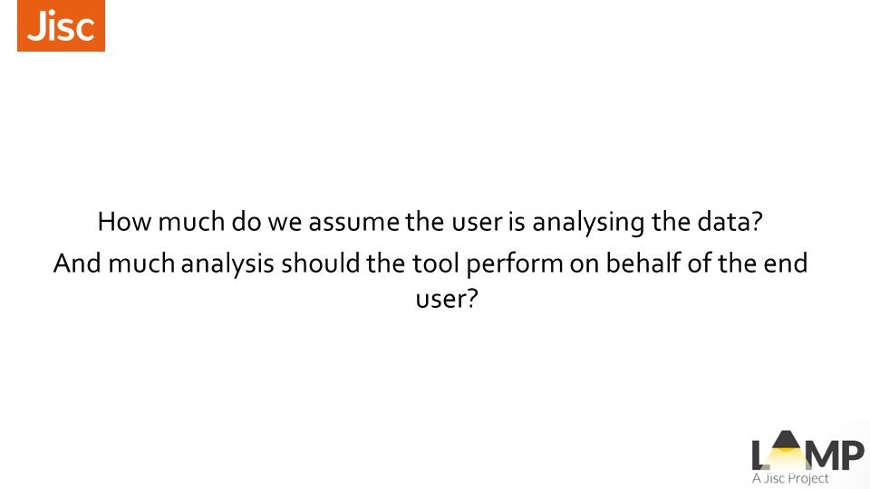 How much do we assume the user is analysing the data.