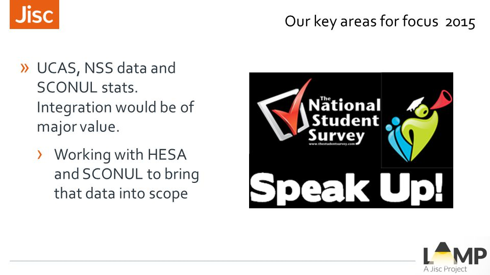 » UCAS, NSS data and SCONUL stats. Integration would be of major value.