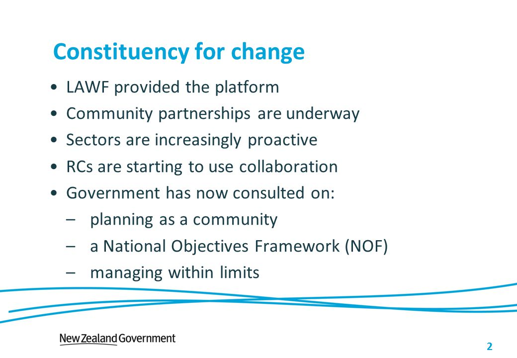 Constituency for change LAWF provided the platform Community partnerships are underway Sectors are increasingly proactive RCs are starting to use coll