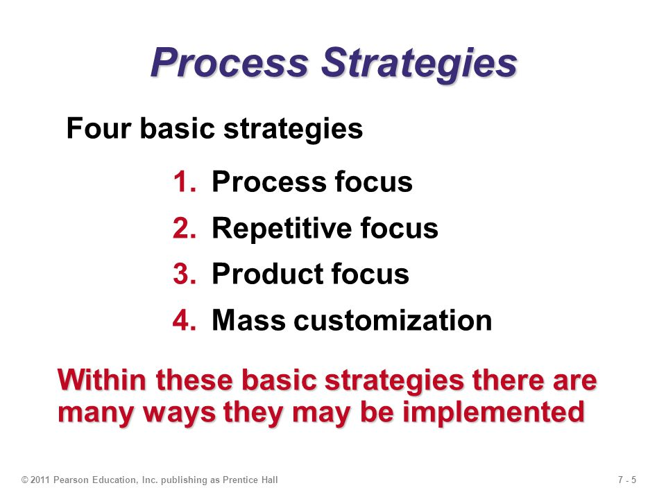 7 - 5© 2011 Pearson Education, Inc. publishing as Prentice Hall Process Strategies Four basic strategies 1.Process focus 2.Repetitive focus 3.Product