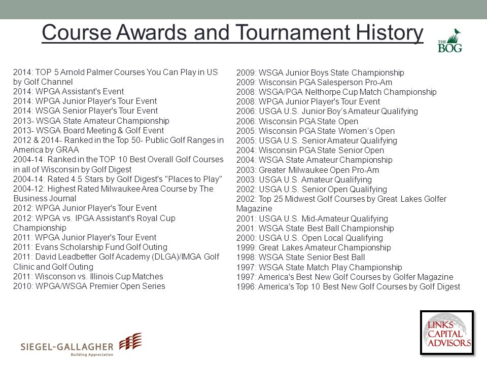 Course Awards and Tournament History 2014: TOP 5 Arnold Palmer Courses You Can Play in US by Golf Channel 2014: WPGA Assistant s Event 2014: WPGA Junior Player s Tour Event 2014: WSGA Senior Player s Tour Event 2013- WSGA State Amateur Championship 2013- WSGA Board Meeting & Golf Event 2012 & 2014- Ranked in the Top 50- Public Golf Ranges in America by GRAA 2004-14: Ranked in the TOP 10 Best Overall Golf Courses in all of Wisconsin by Golf Digest 2004-14: Rated 4.5 Stars by Golf Digest s Places to Play 2004-12: Highest Rated Milwaukee Area Course by The Business Journal 2012: WPGA Junior Player s Tour Event 2012: WPGA vs.