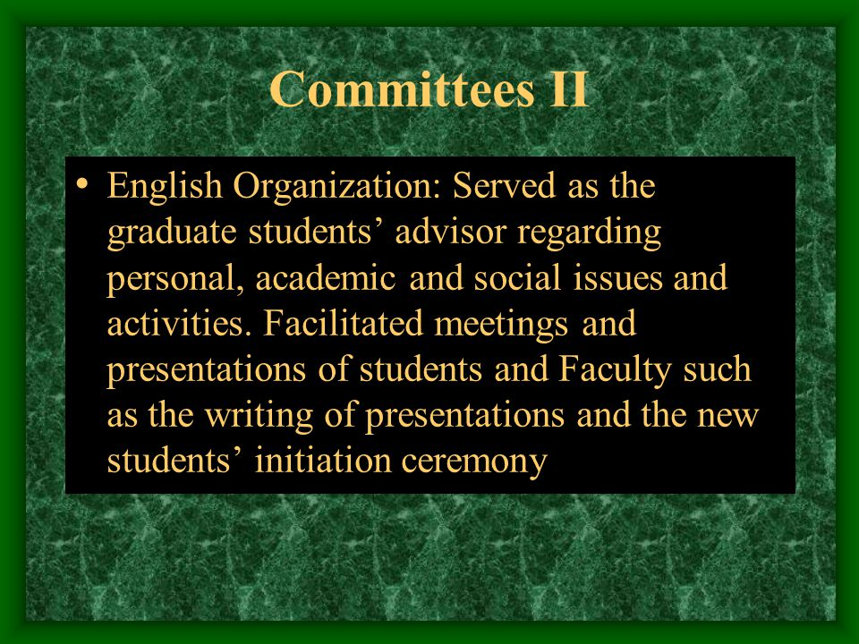 Committees I University of Puerto Rico Mayaguez, Department of English  Language Lab Committee: Worked on issues of equipment and lab curriculum  Grievances Committee: Was available to work on issues of conflict Orientation Committee: Directed students in selecting and registering for courses