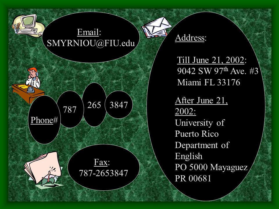 Address: Till June 21, 2002: 9042 SW 97 th Ave.