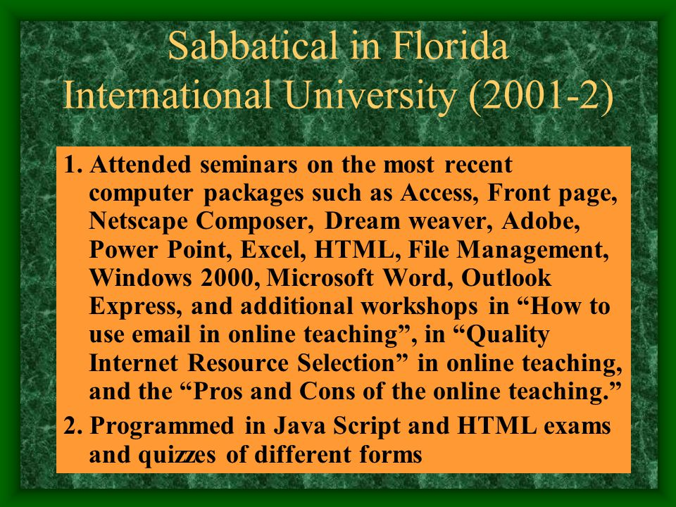Sabbatical in Florida International University 2001-2