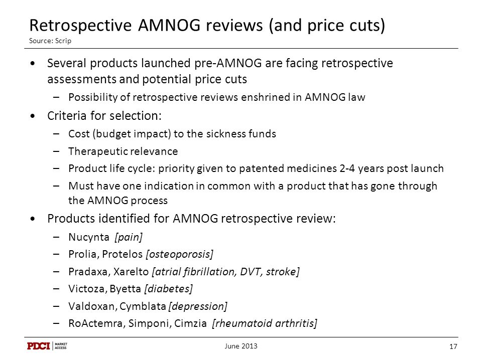 Retrospective AMNOG reviews (and price cuts) Source: Scrip Several products launched pre-AMNOG are facing retrospective assessments and potential pric