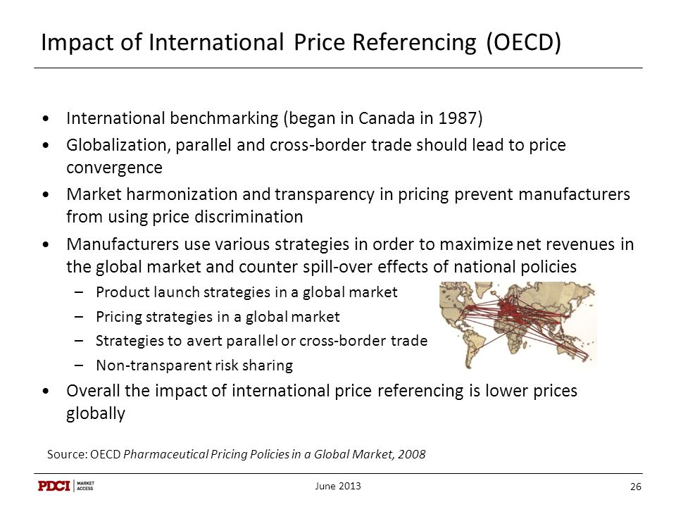Impact of International Price Referencing (OECD) June 2013 26 International benchmarking (began in Canada in 1987) Globalization, parallel and cross-b