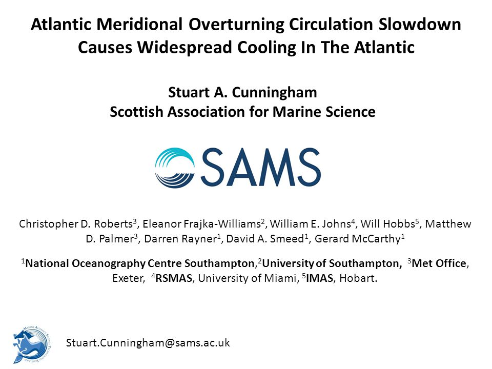 Atlantic Meridional Overturning Circulation Slowdown Causes Widespread Cooling In The Atlantic Stuart A.