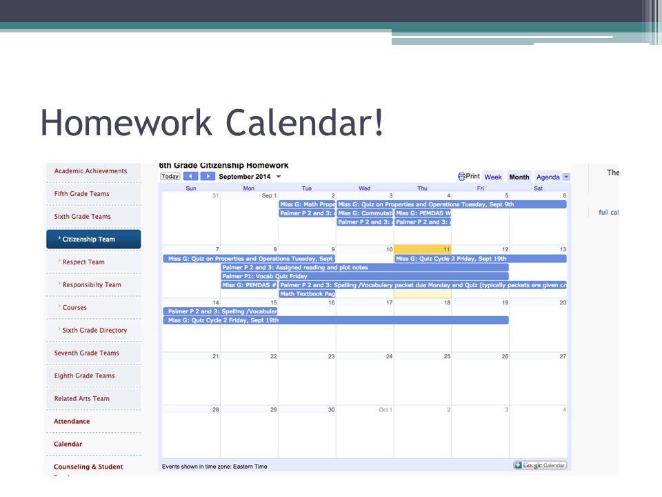 Homework Calendar!
