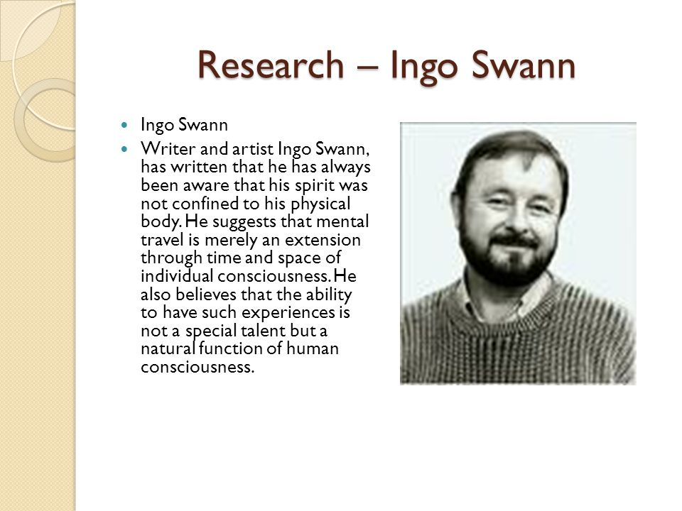 Research – Ingo Swann Ingo Swann Writer and artist Ingo Swann, has written that he has always been aware that his spirit was not confined to his physical body.