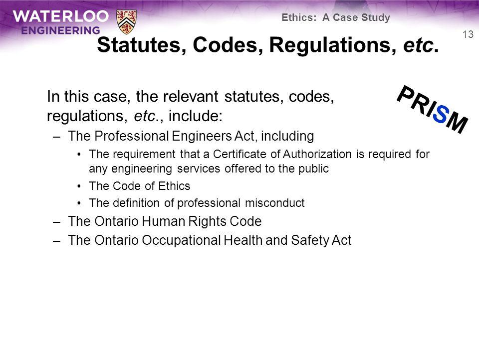 Statutes, Codes, Regulations, etc.
