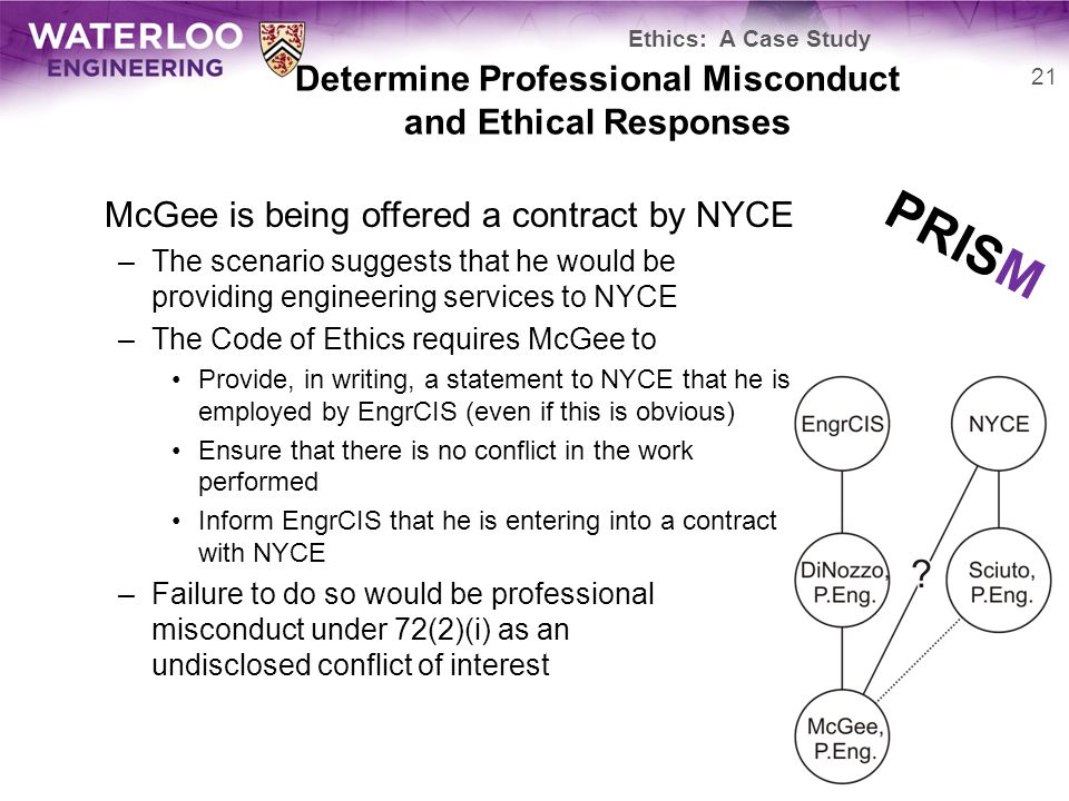 Determine Professional Misconduct and Ethical Responses McGee is being offered a contract by NYCE –The scenario suggests that he would be providing engineering services to NYCE –The Code of Ethics requires McGee to Provide, in writing, a statement to NYCE that he is employed by EngrCIS (even if this is obvious) Ensure that there is no conflict in the work performed Inform EngrCIS that he is entering into a contract with NYCE –Failure to do so would be professional misconduct under 72(2)(i) as an undisclosed conflict of interest 21 Ethics: A Case Study PRISM