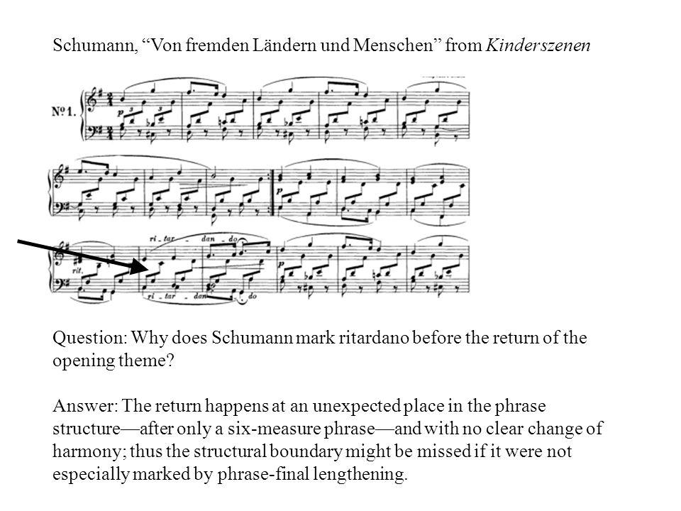Schumann, Von fremden Ländern und Menschen from Kinderszenen Question: Why does Schumann mark ritardano before the return of the opening theme.