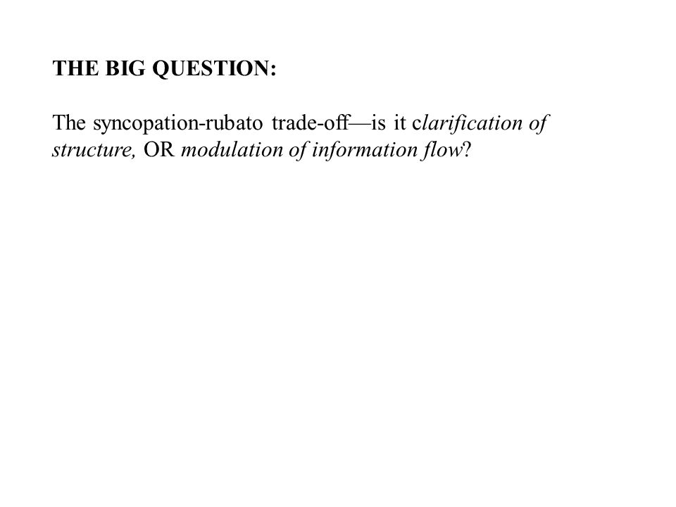 THE BIG QUESTION: The syncopation-rubato trade-off—is it clarification of structure, OR modulation of information flow