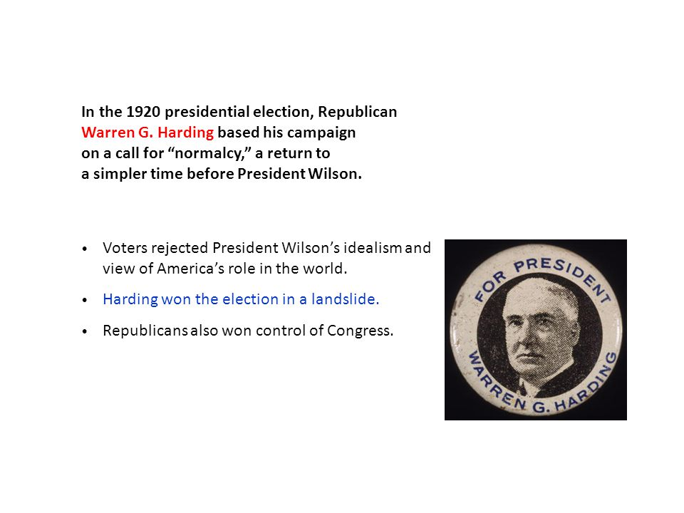 In the 1920 presidential election, Republican Warren G.