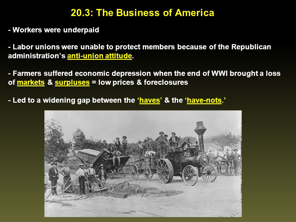 20.3: The Business of America - Workers were underpaid - Labor unions were unable to protect members because of the Republican administration's anti-u