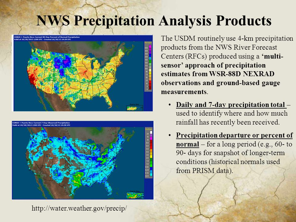 NWS Precipitation Analysis Products The USDM routinely use 4-km precipitation products from the NWS River Forecast Centers (RFCs) produced using a 'multi- sensor' approach of precipitation estimates from WSR-88D NEXRAD observations and ground-based gauge measurements.