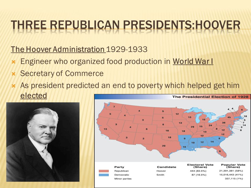 The Hoover Administration 1929-1933  Engineer who organized food production in World War I  Secretary of Commerce  As president predicted an end to