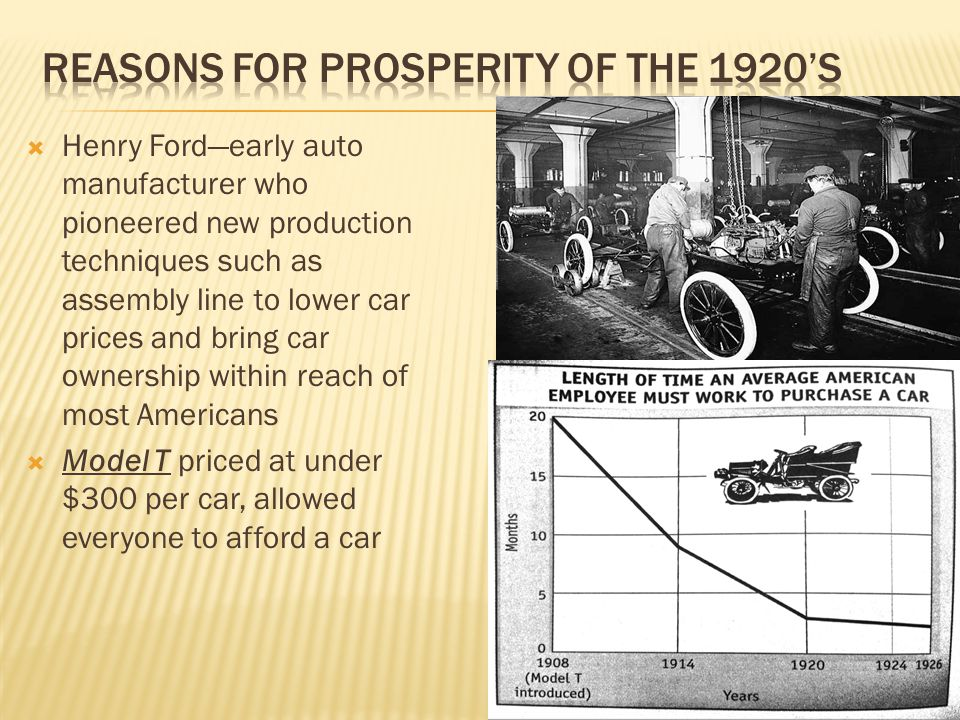  Henry Ford—early auto manufacturer who pioneered new production techniques such as assembly line to lower car prices and bring car ownership within