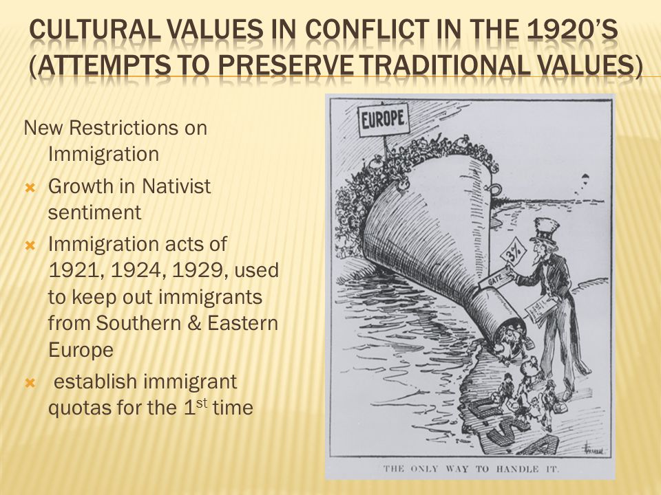 New Restrictions on Immigration  Growth in Nativist sentiment  Immigration acts of 1921, 1924, 1929, used to keep out immigrants from Southern & Eas