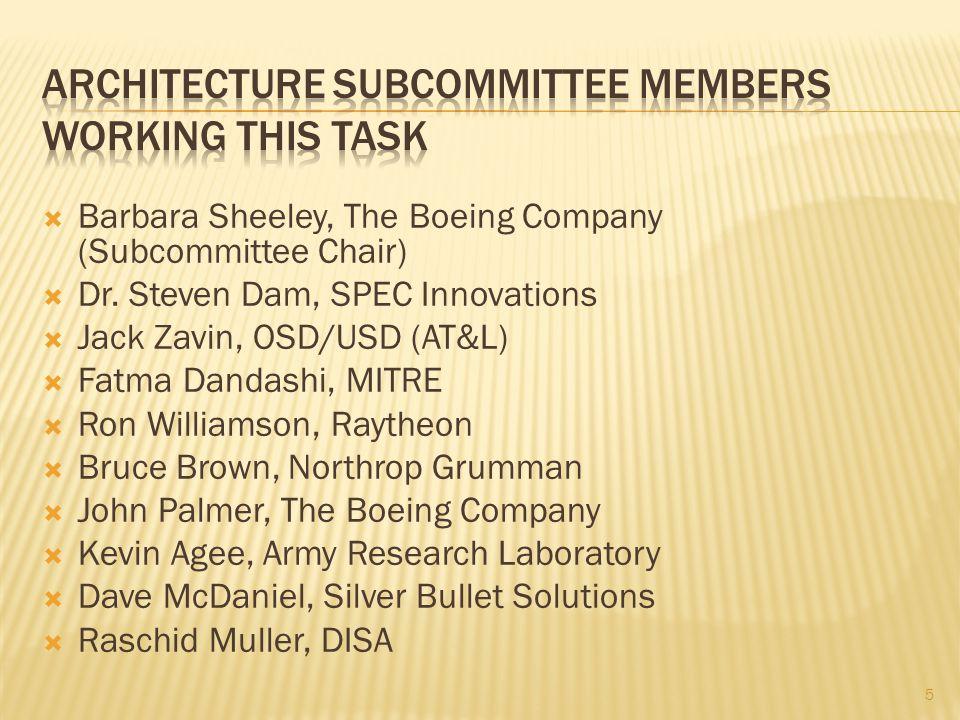  Barbara Sheeley, The Boeing Company (Subcommittee Chair)  Dr. Steven Dam, SPEC Innovations  Jack Zavin, OSD/USD (AT&L)  Fatma Dandashi, MITRE  R