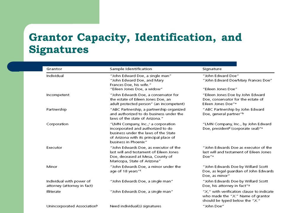 Grantor Capacity, Identification, and Signatures