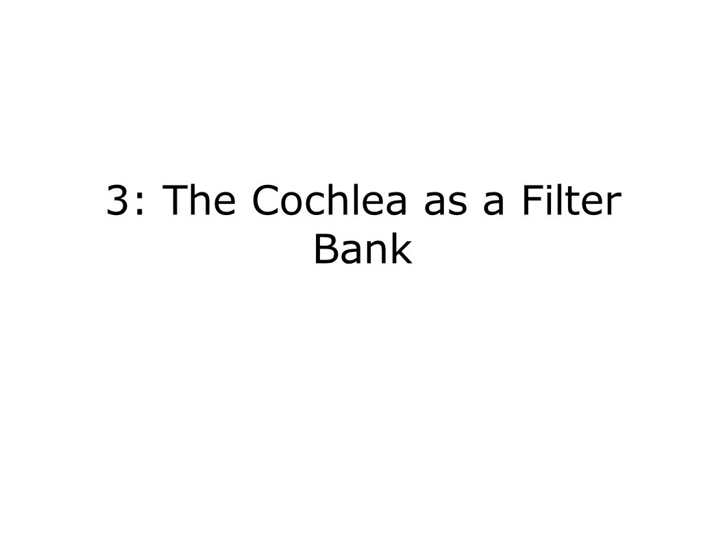 3: The Cochlea as a Filter Bank