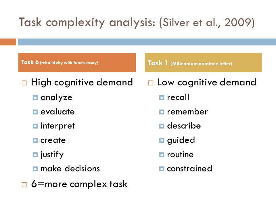 Task complexity analysis: ( Silver et al., 2009)  High cognitive demand  analyze  evaluate  interpret  create  justify  make decisions  6=more complex task  Low cognitive demand  recall  remember  describe  guided  routine  constrained Task 6 (rebuild city with funds essay) Task 1 (Millennium nominee letter)
