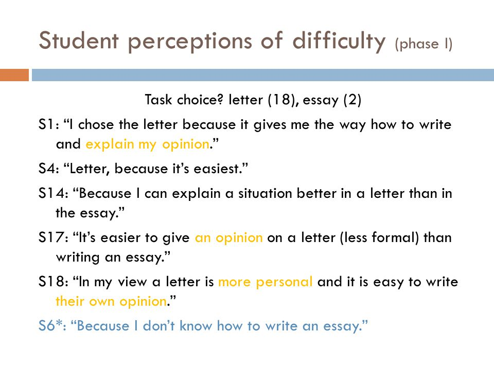 Student perceptions of difficulty (phase I) Task choice.