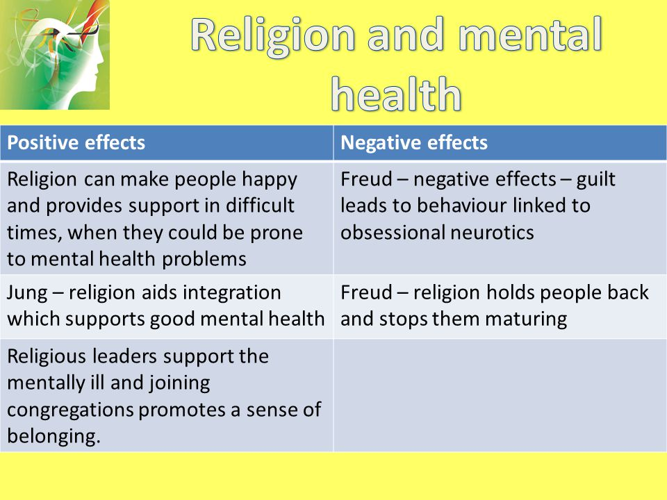 Positive effectsNegative effects Religion can make people happy and provides support in difficult times, when they could be prone to mental health pro