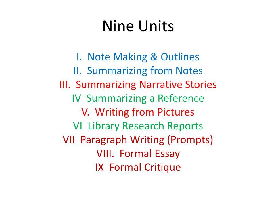Nine Units I. Note Making & Outlines II. Summarizing from Notes III. Summarizing Narrative Stories IV Summarizing a Reference V. Writing from Pictures