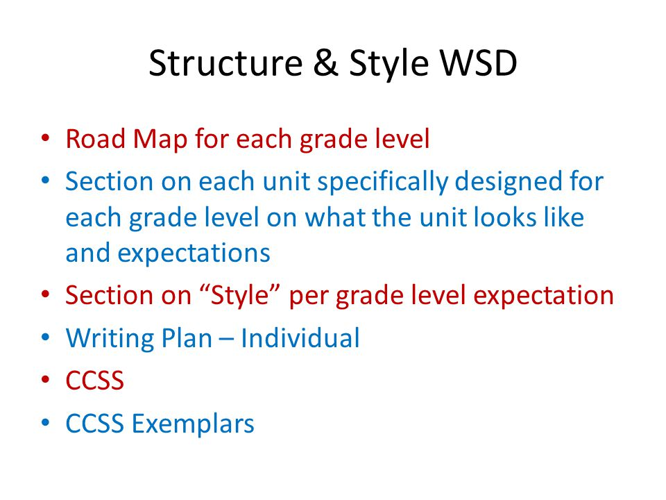 Structure & Style WSD Road Map for each grade level Section on each unit specifically designed for each grade level on what the unit looks like and ex