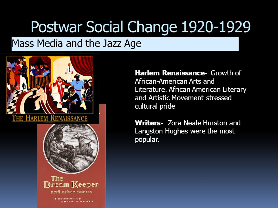 Postwar Social Change 1920-1929 Mass Media and the Jazz Age Harlem Renaissance- Growth of African-American Arts and Literature. African American Liter