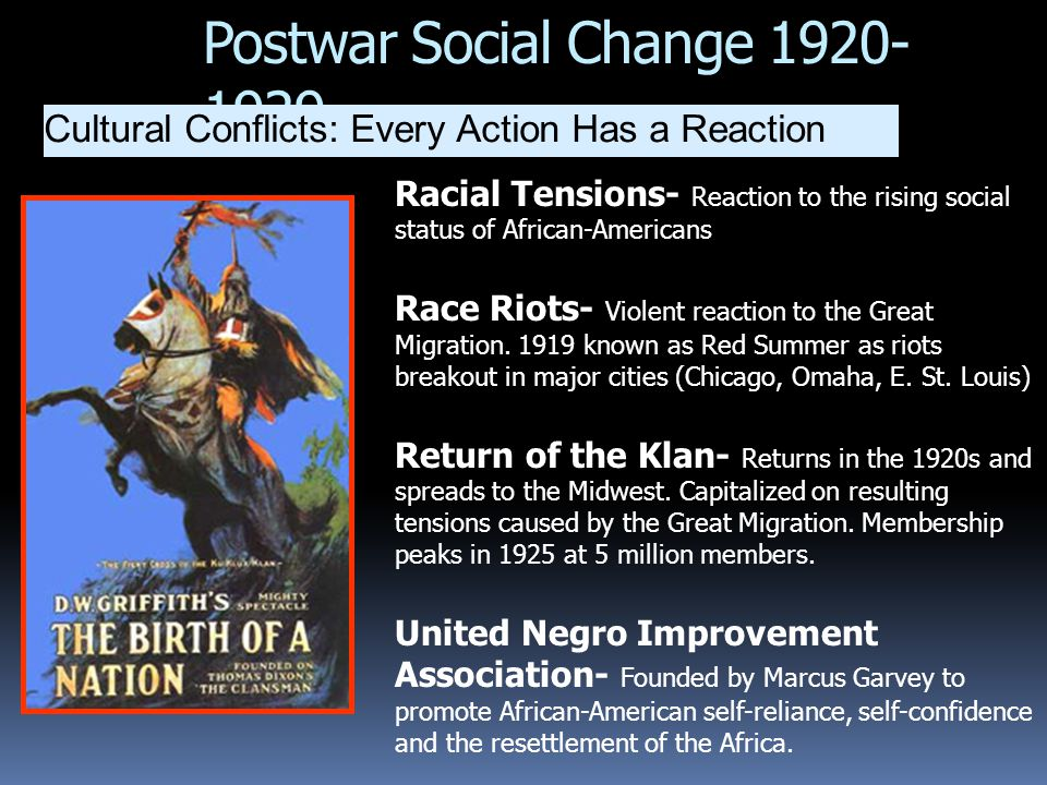 Postwar Social Change 1920- 1929 Cultural Conflicts: Every Action Has a Reaction Racial Tensions- Reaction to the rising social status of African-Amer