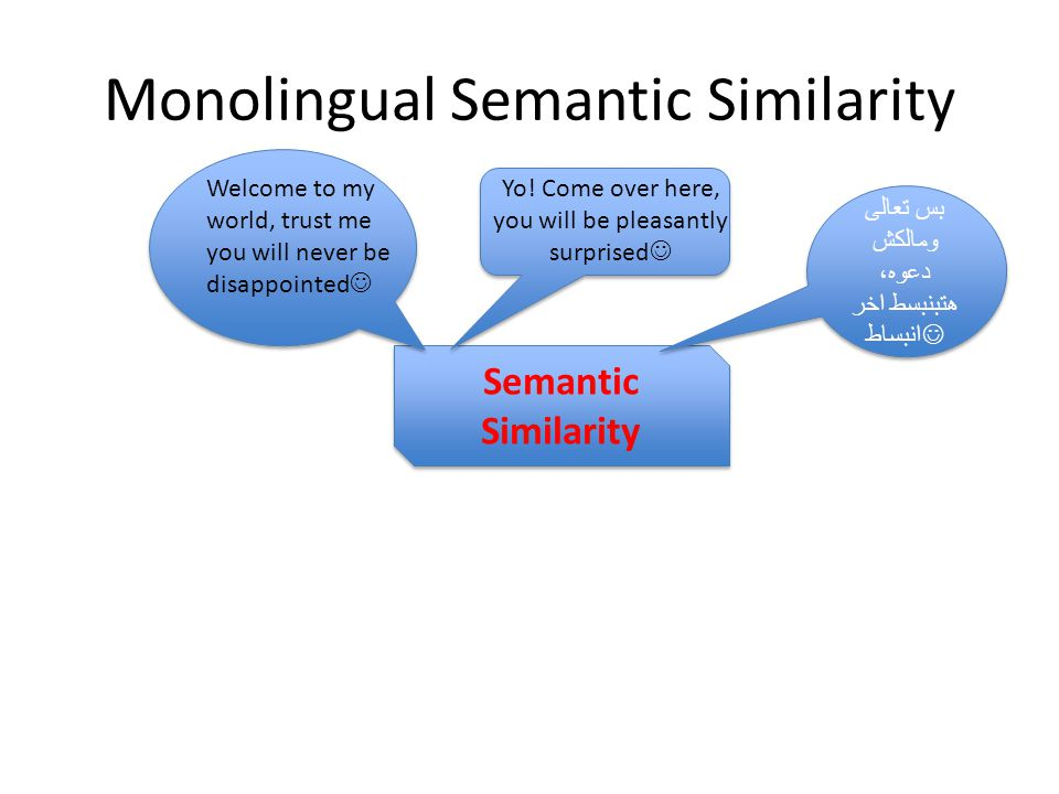 Monolingual Semantic Similarity Semantic Similarity بس تعالى ومالكش دعوه، هتبنبسط اخر انبساط Welcome to my world, trust me you will never be disappointed Yo.