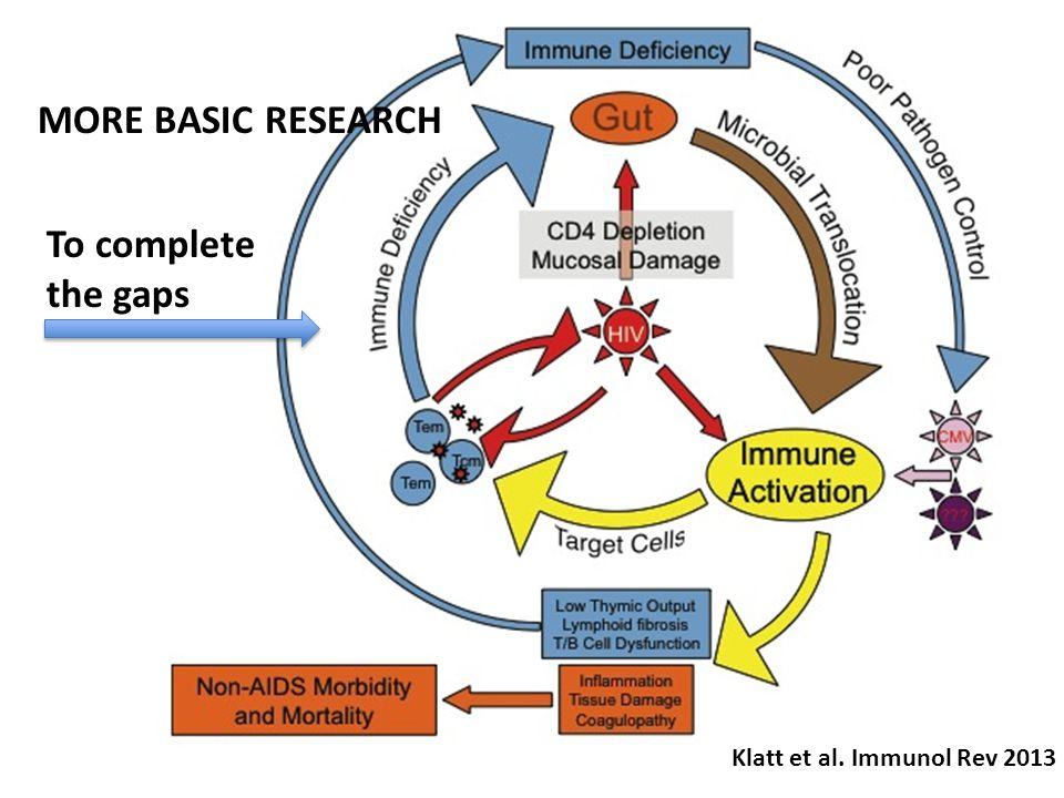 Klatt et al. Immunol Rev 2013 To complete the gaps MORE BASIC RESEARCH