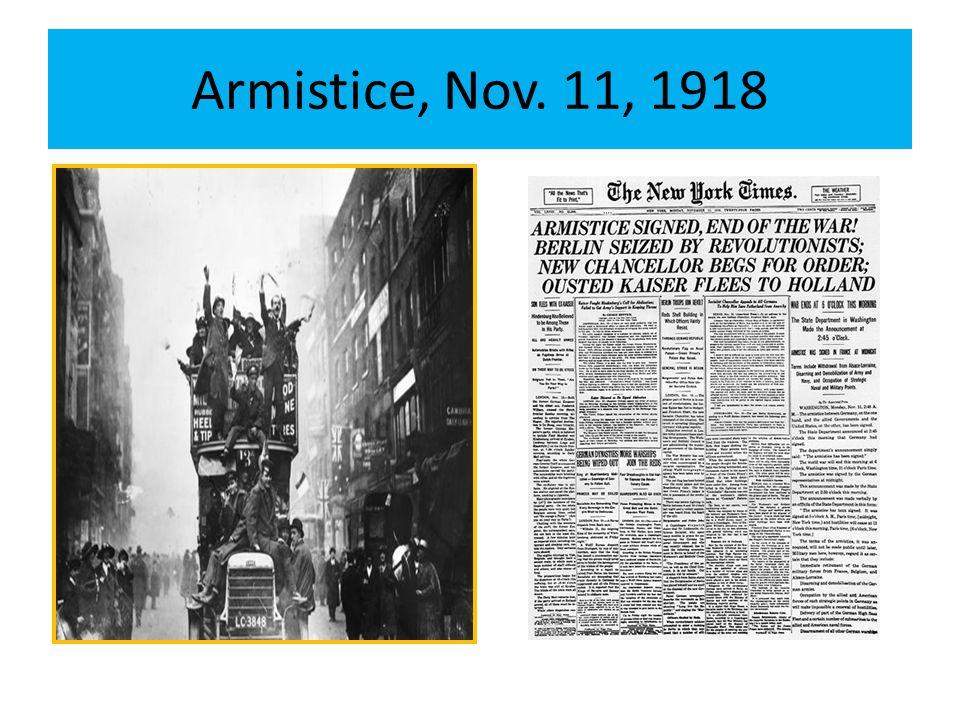Armistice, Nov. 11, 1918