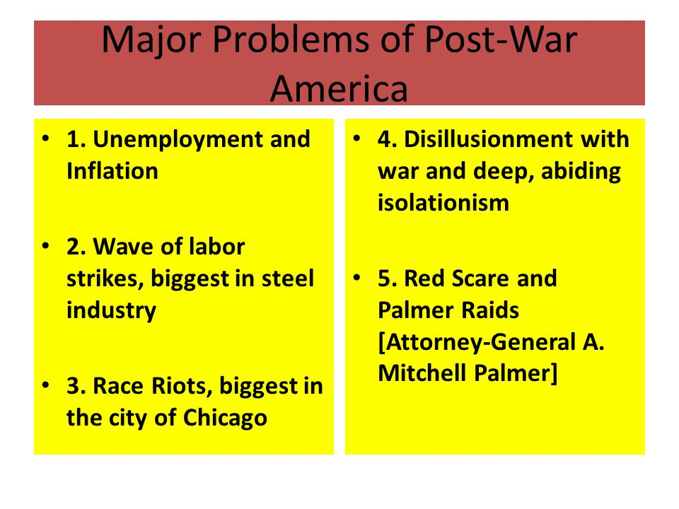 Major Problems of Post-War America 1. Unemployment and Inflation 2.