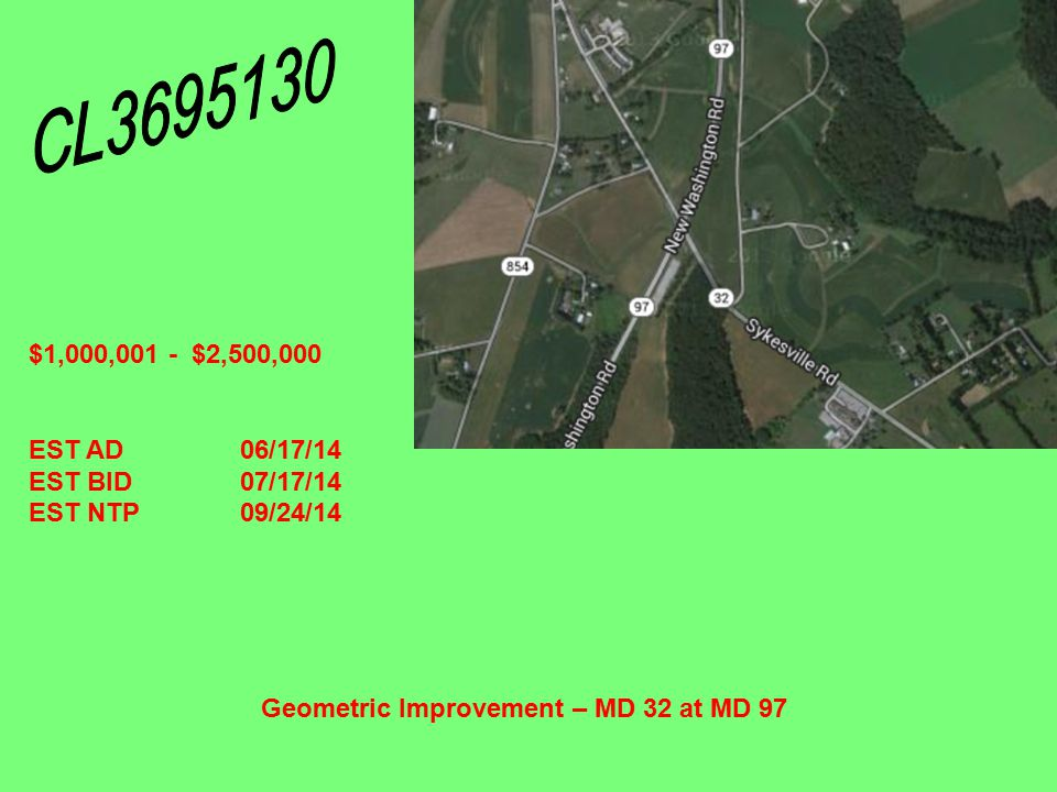 Contaminant Settlement Pond at the Mount Airy Salt Storage Bins– Near the Intersection of I-70 and MD 27 $0 - $100,000 EST AD12/17/13 EST BID01/23/14 EST NTP03/31/14