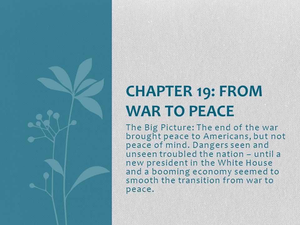 The Big Picture: The end of the war brought peace to Americans, but not peace of mind.