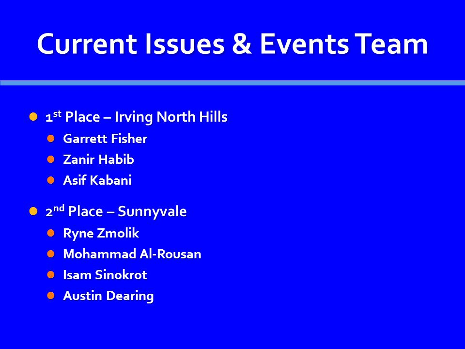 Current Issues & Events Team 1 st Place – Irving North Hills 1 st Place – Irving North Hills Garrett Fisher Garrett Fisher Zanir Habib Zanir Habib Asif Kabani Asif Kabani 2 nd Place – Sunnyvale 2 nd Place – Sunnyvale Ryne Zmolik Ryne Zmolik Mohammad Al-Rousan Mohammad Al-Rousan Isam Sinokrot Isam Sinokrot Austin Dearing Austin Dearing