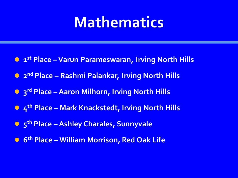 Mathematics 1 st Place – Varun Parameswaran, Irving North Hills 1 st Place – Varun Parameswaran, Irving North Hills 2 nd Place – Rashmi Palankar, Irving North Hills 2 nd Place – Rashmi Palankar, Irving North Hills 3 rd Place – Aaron Milhorn, Irving North Hills 3 rd Place – Aaron Milhorn, Irving North Hills 4 th Place – Mark Knackstedt, Irving North Hills 4 th Place – Mark Knackstedt, Irving North Hills 5 th Place – Ashley Charales, Sunnyvale 5 th Place – Ashley Charales, Sunnyvale 6 th Place – William Morrison, Red Oak Life 6 th Place – William Morrison, Red Oak Life