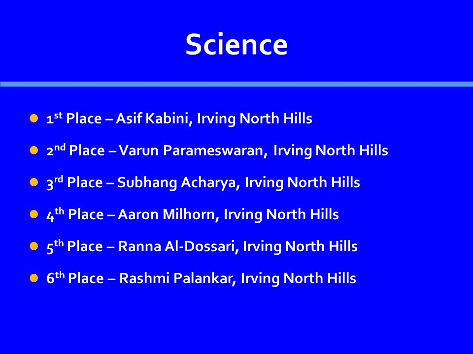 Science 1 st Place – Asif Kabini, Irving North Hills 1 st Place – Asif Kabini, Irving North Hills 2 nd Place – Varun Parameswaran, Irving North Hills