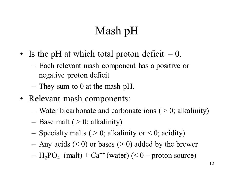 Mash pH Is the pH at which total proton deficit = 0.
