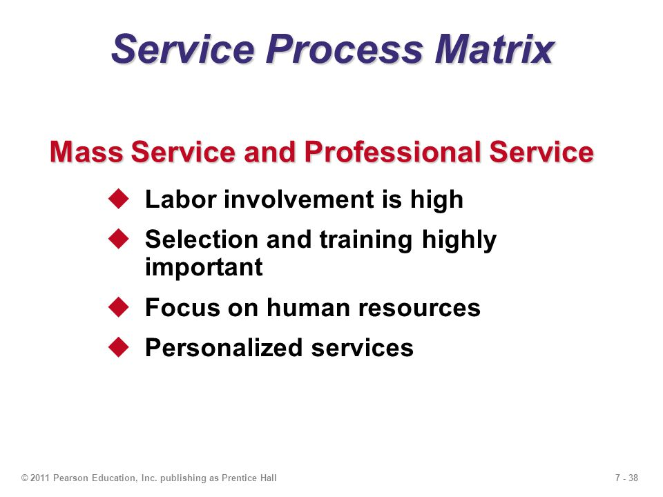 7 - 38© 2011 Pearson Education, Inc. publishing as Prentice Hall Service Process Matrix  Labor involvement is high  Selection and training highly im